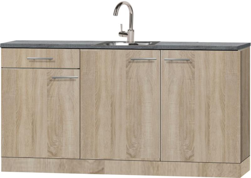 Kitchenette 180 cm wit mat met stelpoten en wandkasten RAI-8585