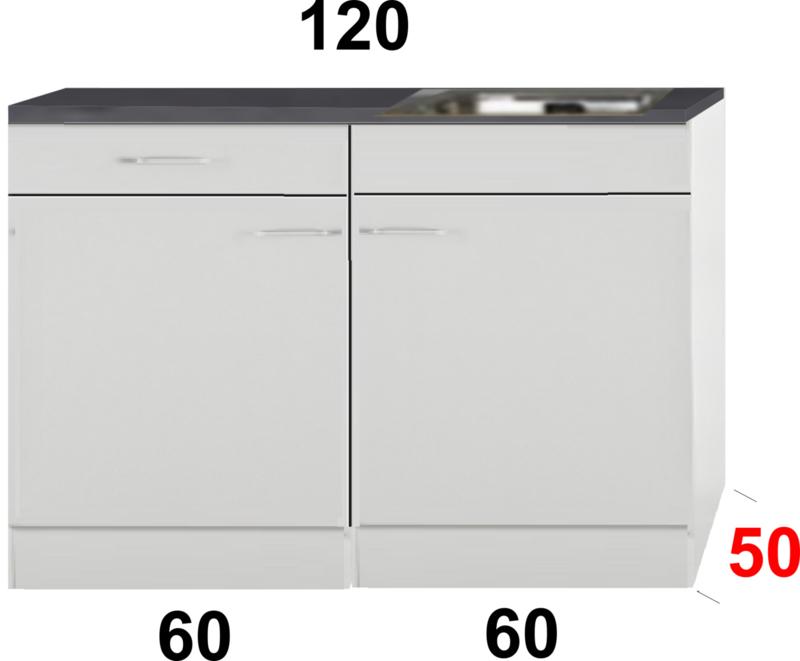 Kleine keuken 120cm x 50cm diep met een la en rvs spoelbak RAI-9911