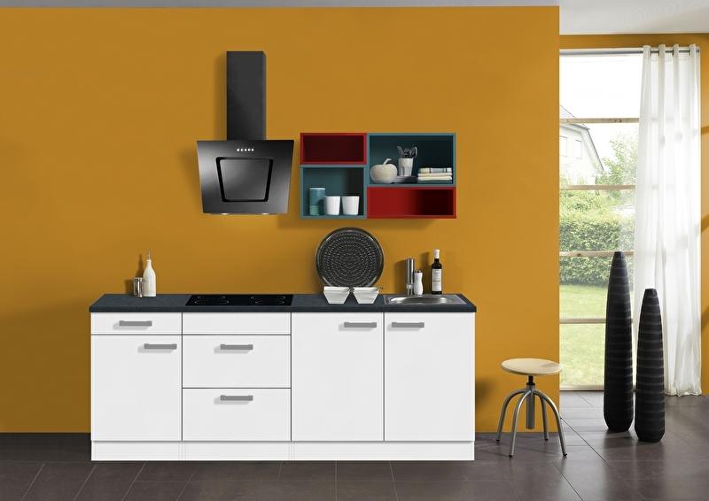 Keuken 210 cm met gekleurd wandrek Incl. keramisch kookplaat, afzuigkap en rvs spoelbak KT212E-9-601