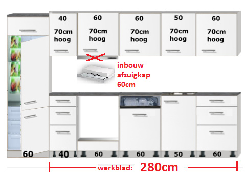 Rechte keuken 330cm compleet zonder oven en kookplaat RAI-4040