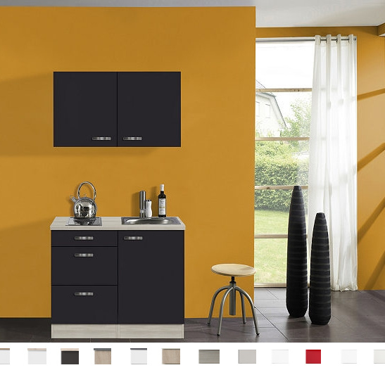 Keukenblok Faro Antraciet met onderkast 3 x laden en bovenkast 100 x 60 cm OPTI-0103