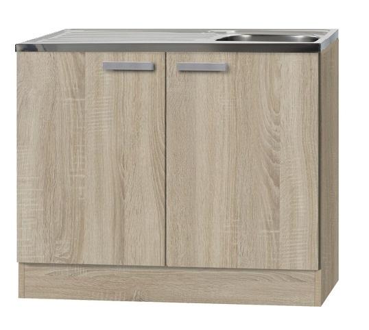 Keukenblok met houten aanrechtblad incl Spoelbak Neapel licht eiken ruw (BxHxD) 100,0x84,8x60,0 cm HRG-199