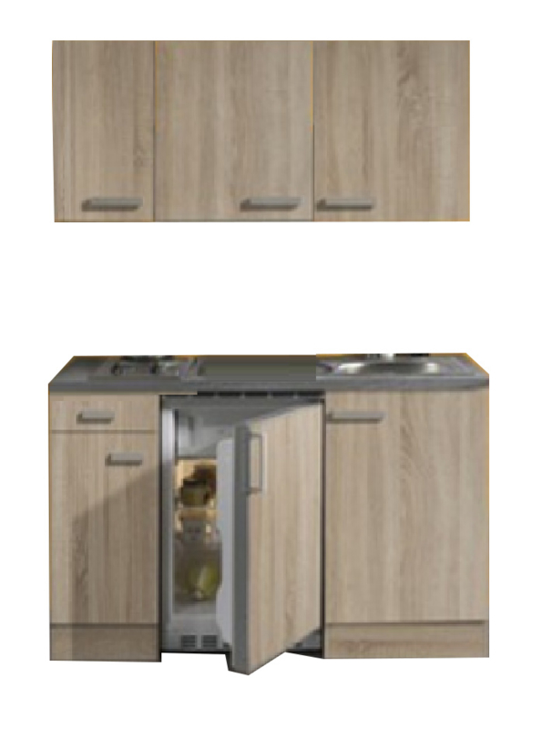kitchenette 130 houtnerf incl koelkast en e-kookplaat RAI-3321