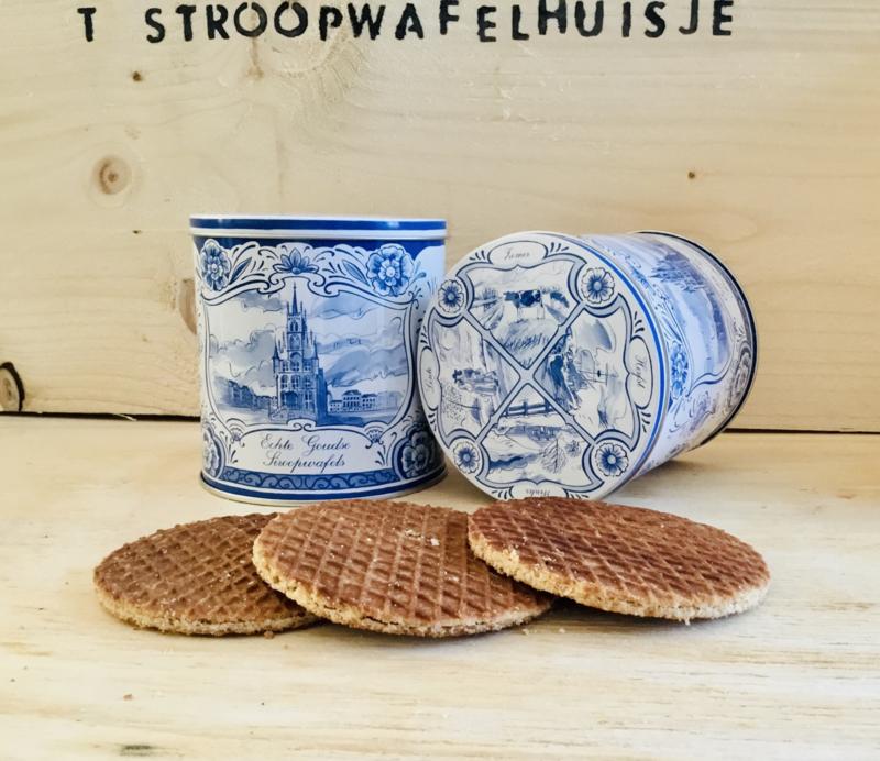 Cadeaublik Delfst blauw Holland incl. pakje stroopwafels