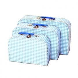 Koffersetje 3-delig vichy ruit blauw