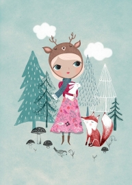 Rebecca Jones kinderkamer poster deer girl mint 29,7 x 42 cm