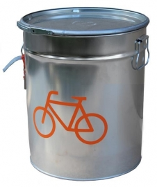 Rescued! Blik chroom met oranje fiets