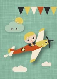 Miss Honeybird Ansichtkaart Vliegtuig