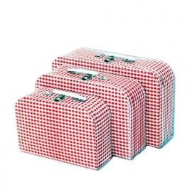 Koffersetje 3-delig vichy ruit rood
