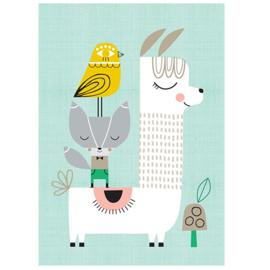 Petit Monkey kinderkamer poster Lama & Friends 29,7 x 42 cm