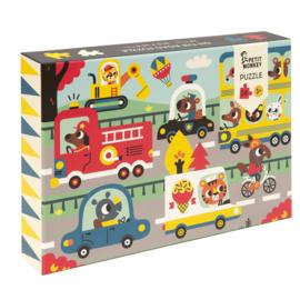 Petit Monkey puzzel On the road 3 jr+ / 24 stks