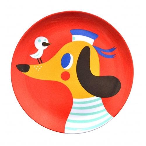 Helen Dardik melamine bordje Hond rood