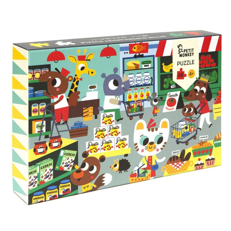 Petit Monkey puzzel In the supermarket 4 jr+ / 48 stks