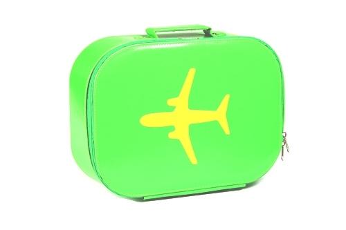 Bakker Made With Love vinyl koffer vliegtuig groen/geel