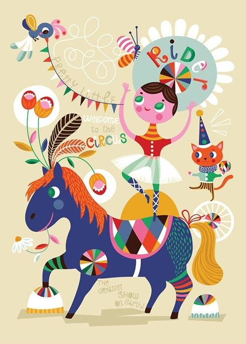 Helen Dardik kinderkamer poster Pretty Little Rider 50x70 cm