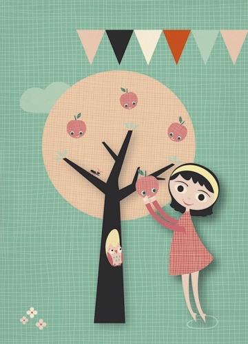 Miss Honeybird Ansichtkaart Appelboom