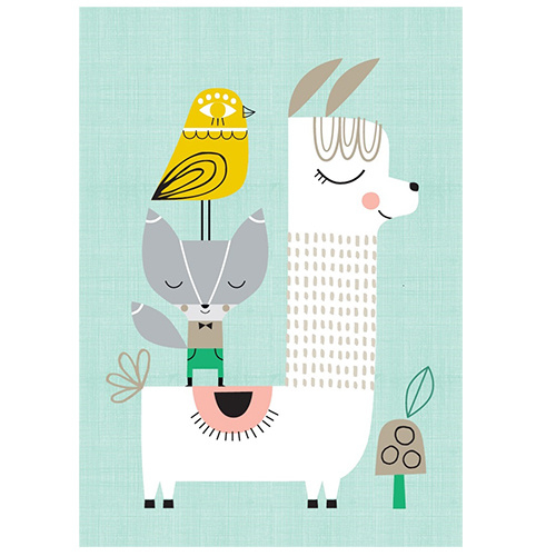 Petit Monkey kinderkamer poster Lama & Friends 29,7 x 42 cm