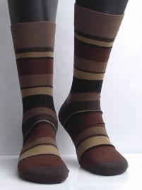 Block Stripe - humus - ultrafijne Falke kousen voor heren, maat 45-46