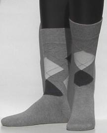 Modern Argyle - l.grey - kousen voor heren, Falke, maat 43-46