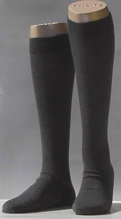 Family Knee - d.grey - donkergrijze, katoenen kniekousen Falke, maat 23-26