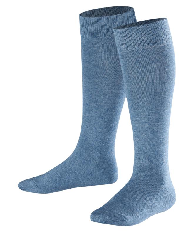 Family Knee - denim - jeansblauwe, katoenen kniekousen Falke, maat 19-22