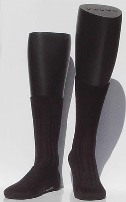 Bristol 80 - d.grey - donkergrijze Falke kousen met ribpatroon, maat 43-44
