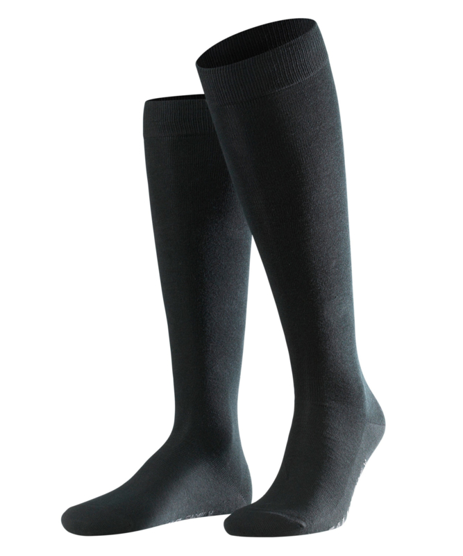 Family Knee - black - zwarte, katoenen kniekousen Falke, maat 43-46
