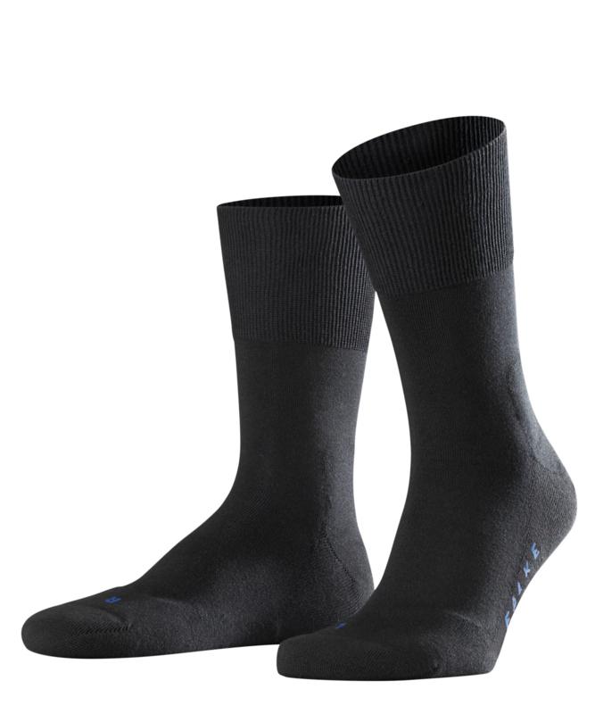 Run - black - zwarte Falke kousen met pluchen comfortzool, maat 42-43