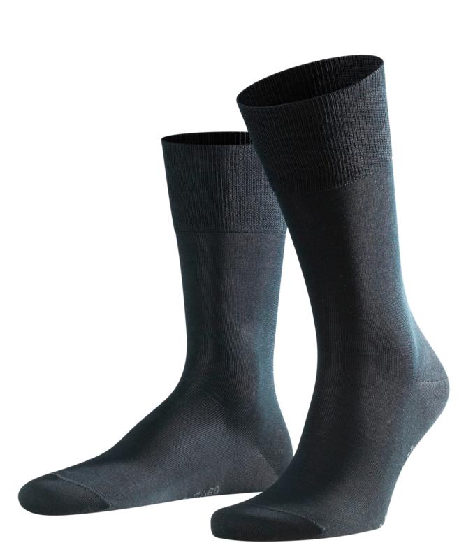 Tiago - black - zwarte, fijne en klassieke Falke kousen in fil d'Ecosse, maat 47-48