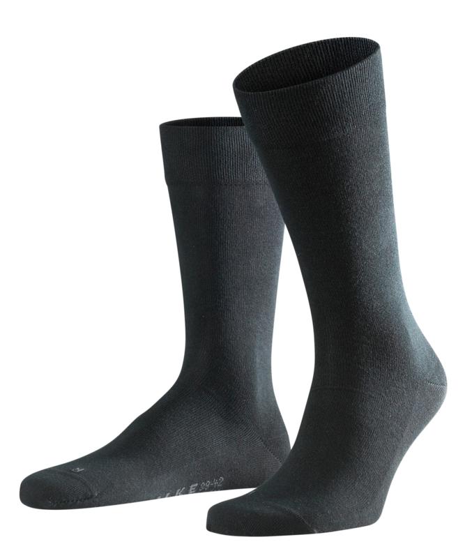 London - black - zwarte Falke kousen zonder elastiek, speciaal voor de bloedsomloop, maat 47-50