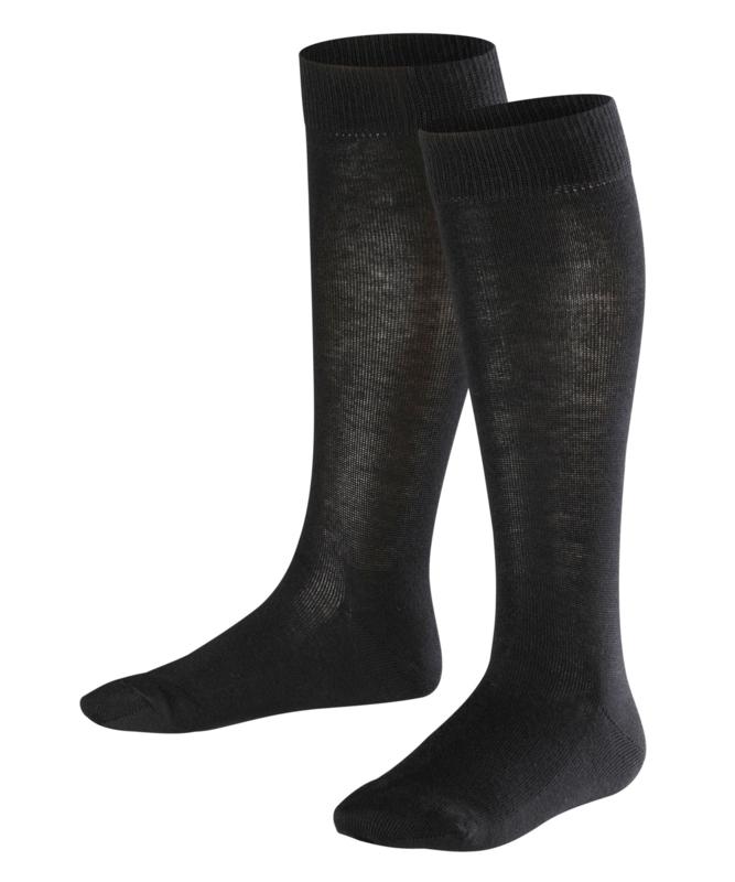 Family Knee - black - zwarte, katoenen kniekousen Falke, maat 35-38