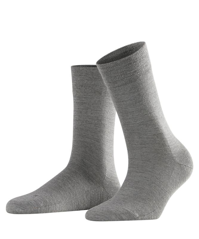 Berlin - l.grey - grijze Falke kousen zonder elastiek, speciaal voor de bloedsomloop, maat 35-38
