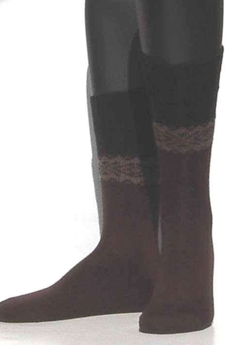 Winter Pattern - brown - dikke, donkerbruine wintersokken Falke, maat 43-46