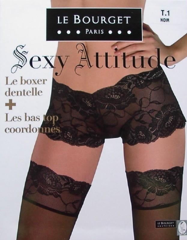 Sexy Attitude - zwarte stay-ups met boxer, Le Bourget