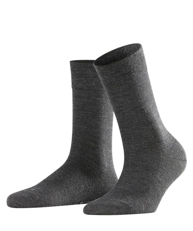 Berlin - anthracite - grijze Falke kousen zonder elastiek, speciaal voor de bloedsomloop, maat 35-38