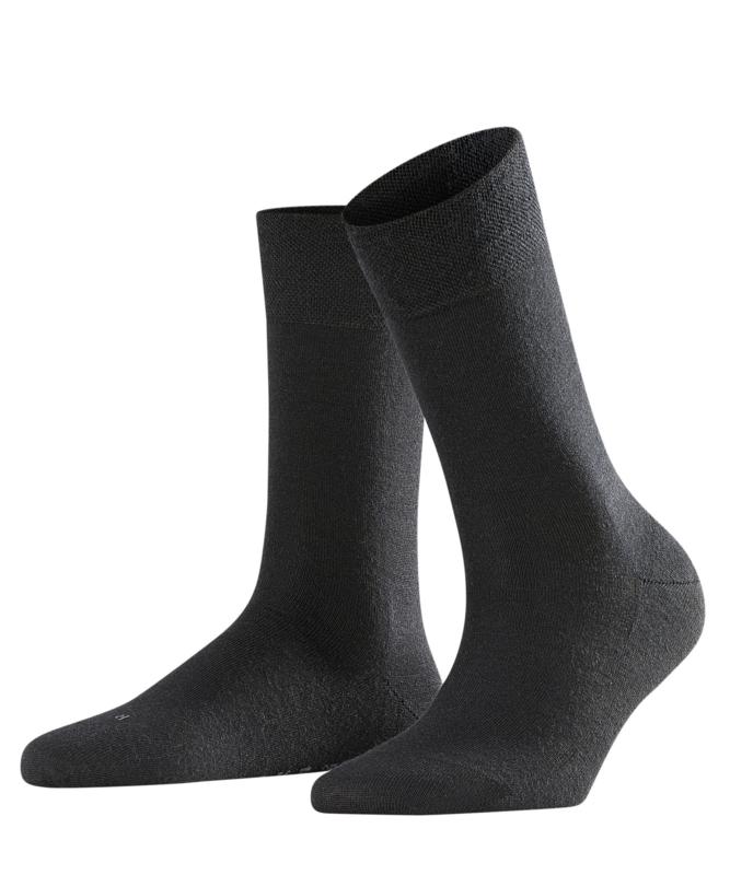Berlin - black - zwarte Falke kousen zonder elastiek, speciaal voor de bloedsomloop, maat 39-42 (dames)