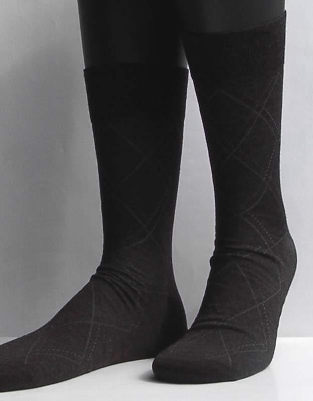 Rhombe - anthracite - ultrafijne Falke kousen met fijn ruitpatroon, maat 45-46