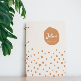 Houten Bewaarboek – Stippen - We are Golden