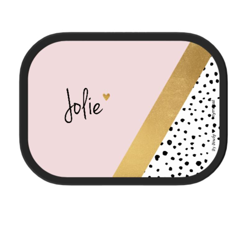 Mepal broodtrommel met naam | Roze goud diagonaal