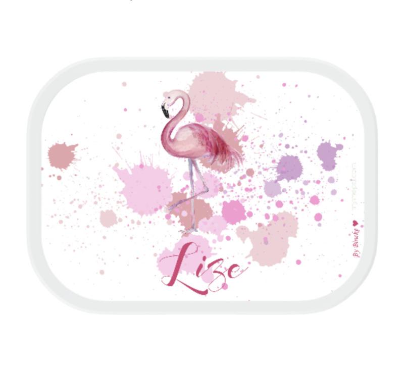 Mepal broodtrommel met naam | Flamingo
