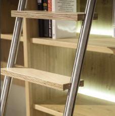HEL rvs geborstelde bibliotheekladder met haken en houten treden