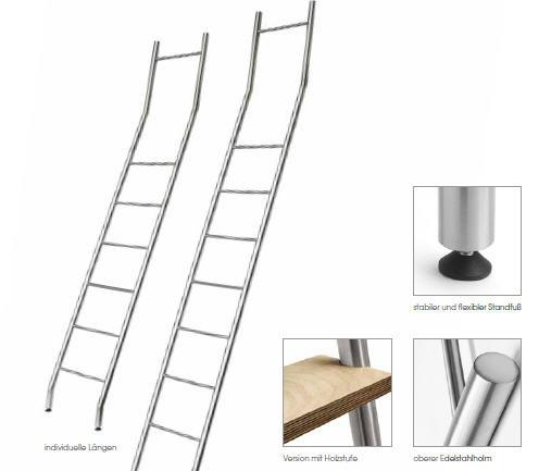 SAL  vaste ladder met rvs geborstelde treden