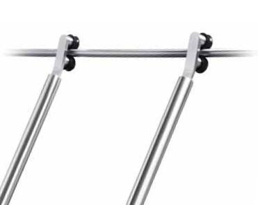 SSL  rvs geborstelde Bibliotheek-ladder met rol geleiding