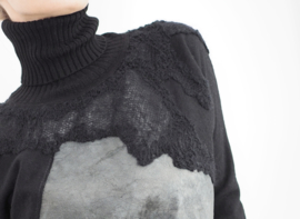 """ Mecnun "" wool / leather mix cowl sweater"
