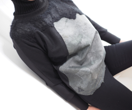 """"""" Mecnun """" wool / leather mix cowl sweater"""