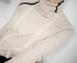 """Othello"" redesign cotton/leather mix sweater"