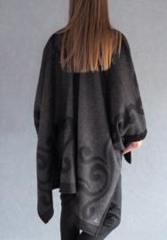 """Klymene"" wool - handknit mix poncho"