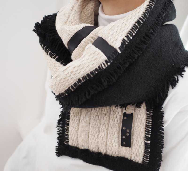 """""""Abelard"""" cotton / wool  scarf with leather details"""