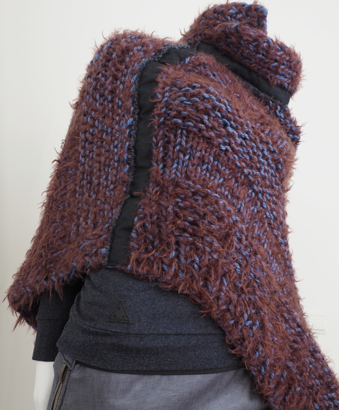 """Wabi-sabi III"" hand knit poncho"