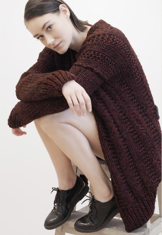 """ Alkaia"" hand knit long cardigan"